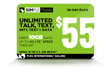 SIMPLE Mobile $55 plan
