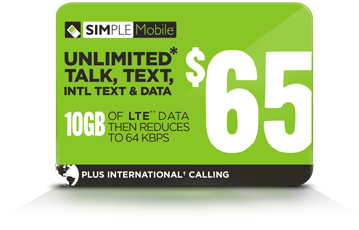 SIMPLE Mobile $65 ILD plan