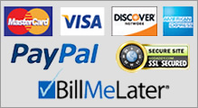 We accept all major credit cards including PayPal and Bill Me Later